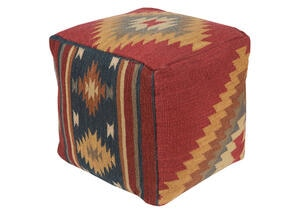 Woven Red Pouf Red