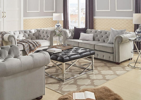 Barrington Gray Velvet 3 Pc. Living Room