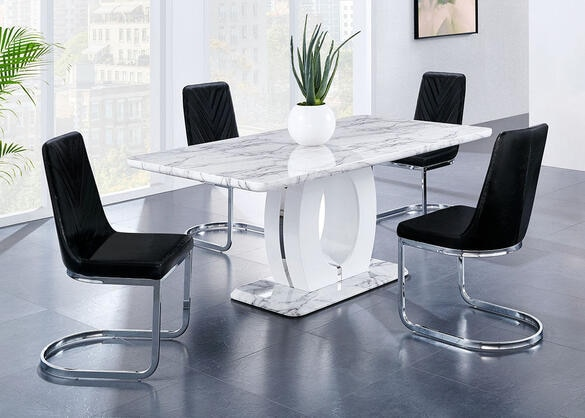 Rossi 5 Pc. Dinette w/Black Side Chairs