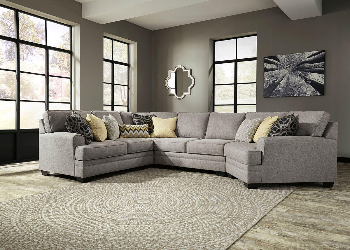 Claudine 4 Pc. Sectional w/Armless Loveseat & Cuddler Chaise
