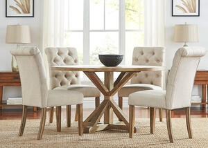 "Richland 5 Pc. 60"" Round Table Dinette w/Beige Linen Rolled Back Chairs"