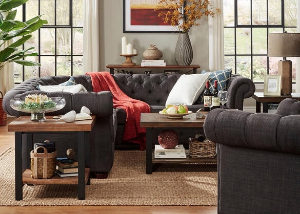 Barrington Charcoal Linen 5-Seat Sectional