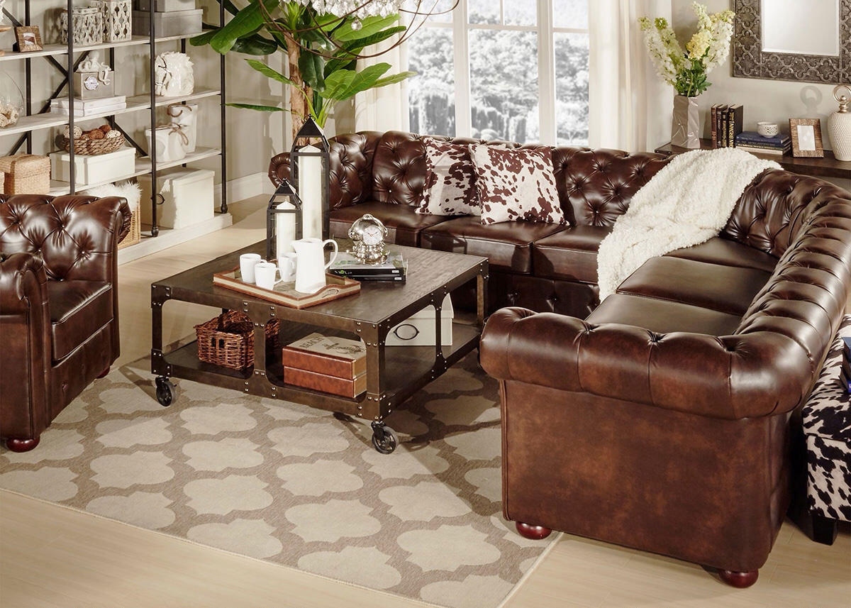 Barrington Faux Leather 7-Seat Sectional