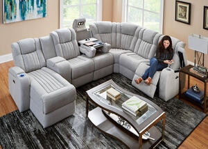 Tesla Fabric 7 Pc. Power Sectional (Reverse)