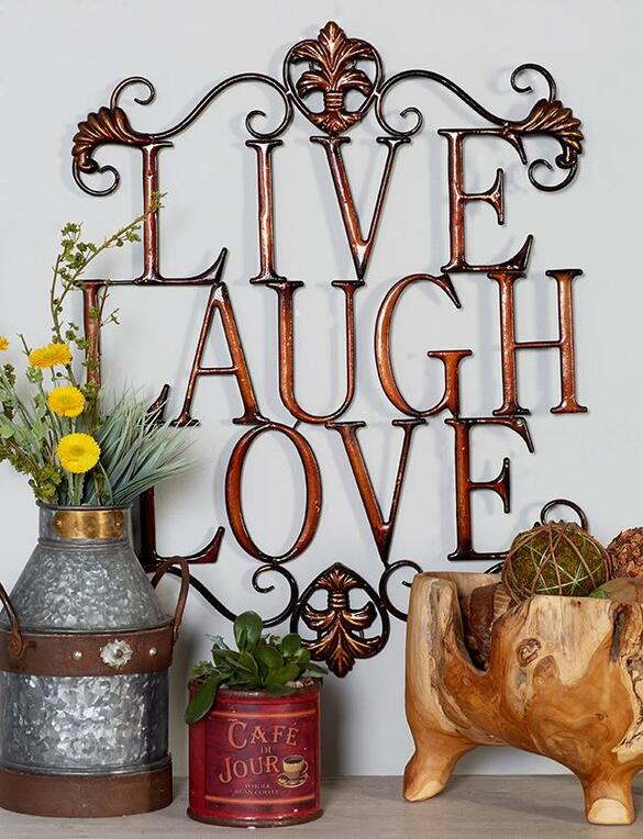 Factory Directly Sale Wall Living Tv Cabinet Mdf Tall: Live Laugh Love Wall Art Bronze