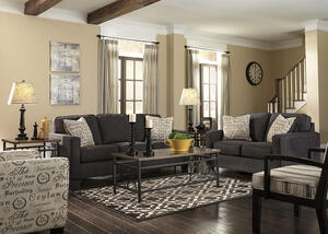 Arthur Charcoal 3 Pc. Living Room w/Script Accent Chair