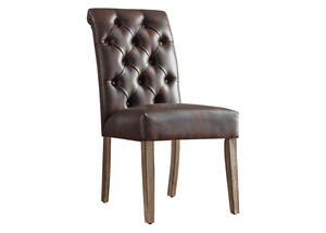 Brown Faux Lthr Tufted Chair Brown