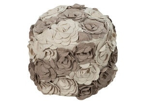 Hand Crafted Floral Pouf Tan