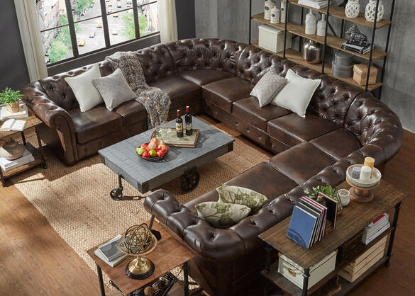 Barrington Faux Leather 11-Seat U Sectional