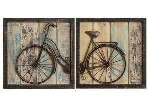 Rustic 2 Pc Bicycle Wall Decor Yellow