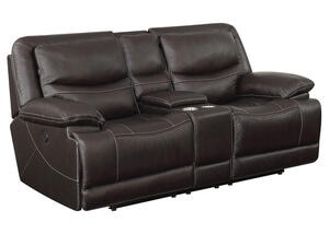 Rover Leather Power Console Loveseat w/Power Headrests