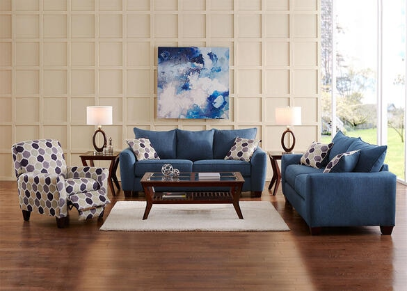 Heritage 3pc Living Room W/recliner Blue