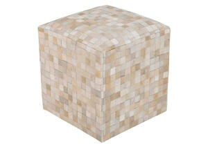 Hand Crafted Tiled Pouf White