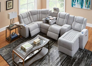 Tesla Fabric 6 Pc. Power Sectional w/Entertainment Table
