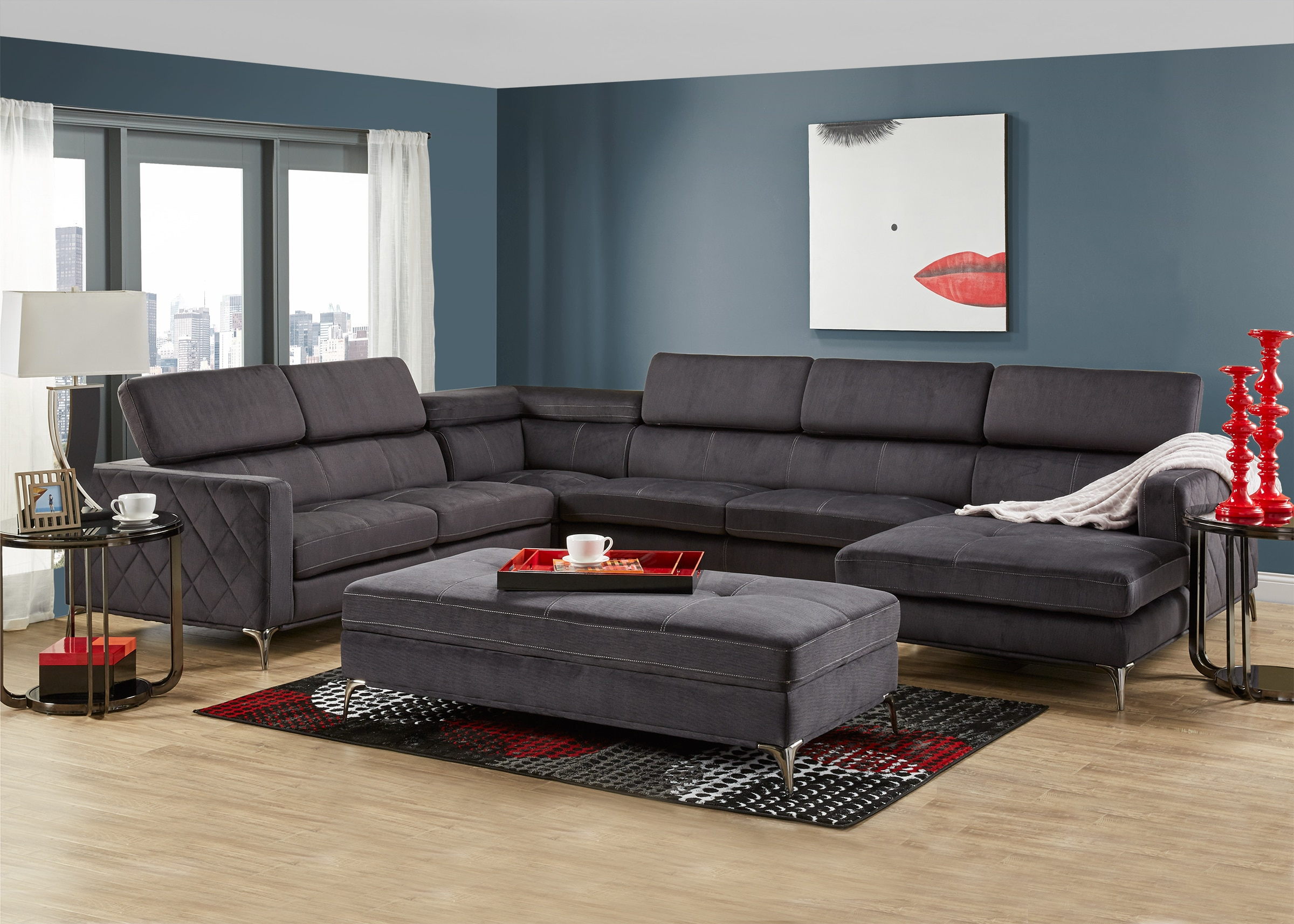 Groovy Lola Charcoal 4 Pc Sectional Caraccident5 Cool Chair Designs And Ideas Caraccident5Info