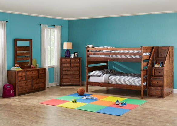 Catalina Chestnut 6 Pc. Full Bunk Bedroom with Storage Staircase