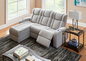 Tesla Fabric 3 Pc. Power Sectional (Reverse)
