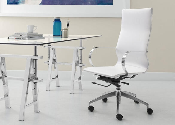 Glider White Hi Back Office Chair