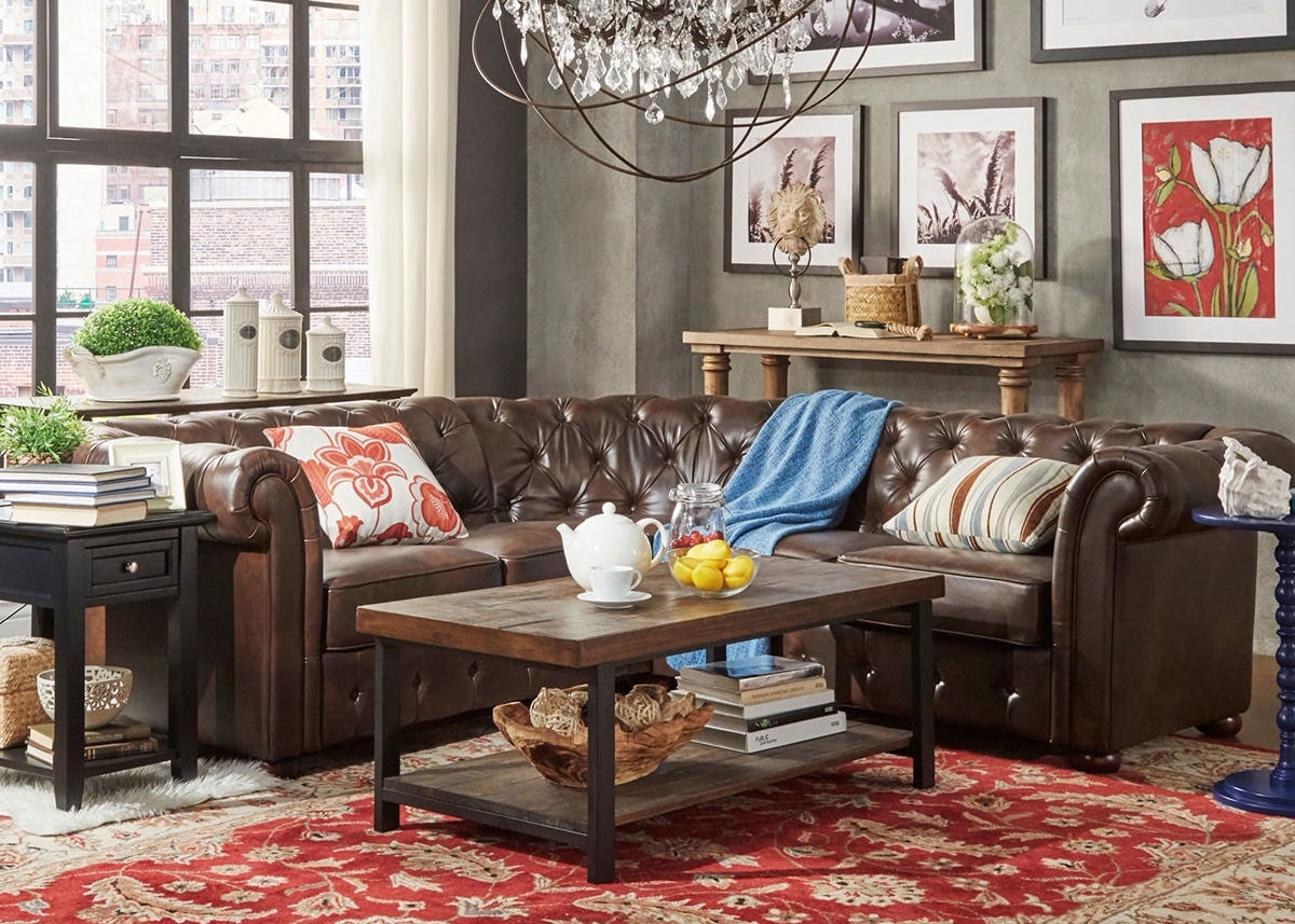 Barrington Faux Leather 5-Seat Sectional