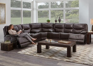 Rover Leather 3 Pc. Power Sectional w/Power Headrests