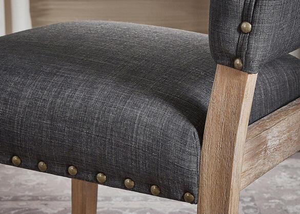 Drk Gray Linen Nail Open Chair Gray