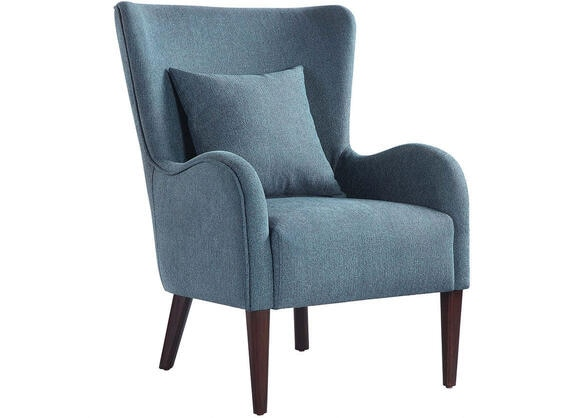 Dark teal winged accent chair by scott living the roomplace - Dark teal accent chair ...