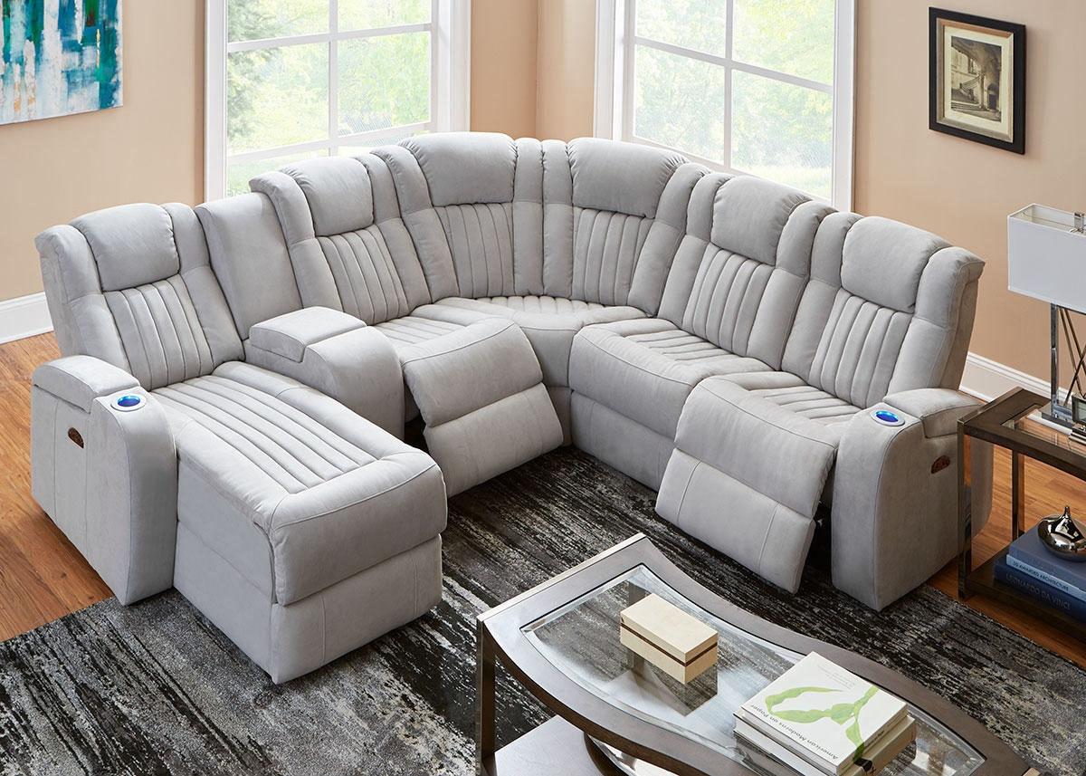 Tesla Fabric 6 Pc. Power Sectional (Reverse)