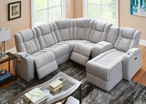 Tesla Fabric 6 Pc. Power Sectional
