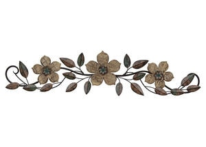 Floral Wood Wall Decor Bronze