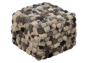 Hand Crafted Balled Pouf Gray