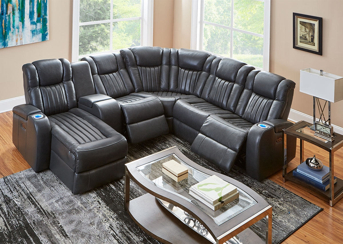 Tesla 6pc Raf Pwr Leather Sectional