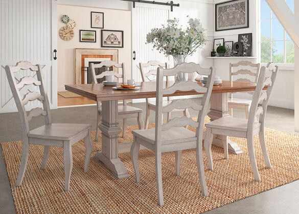 Lakewood White 5 Pc. Dinette w/Ladder Back Chairs