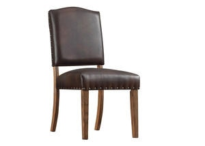Brown Faux Lthr Nailhead Chair Brown