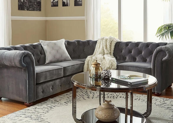 Barrington Charcoal Velvet 5-Seat Sectional