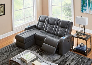 Tesla 3pc Raf Pwr Leather Sectional