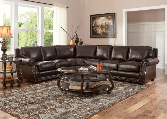 Genoa Chocolate 4 Pc. Sectional with Armless Chair