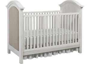 Lucca Sea Shell White Upholstered Convertible Crib by Dolce Babi