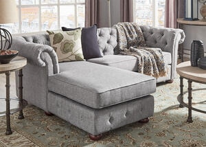 Barrington Gray Linen Sofa Chaise (Reverse)
