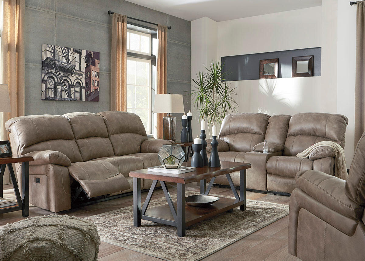 Arcadia 3 Piece Power Living Room W Power Headrests Tan The Roomplace