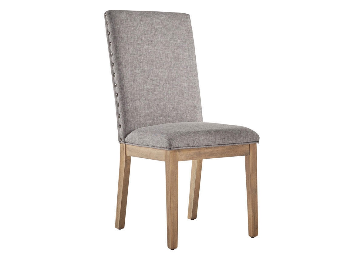Gray Linen Nailhead Chair Gray