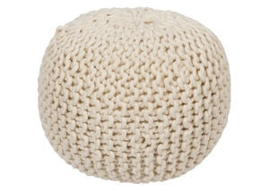 Hand Crafted Tan Pouf Tan