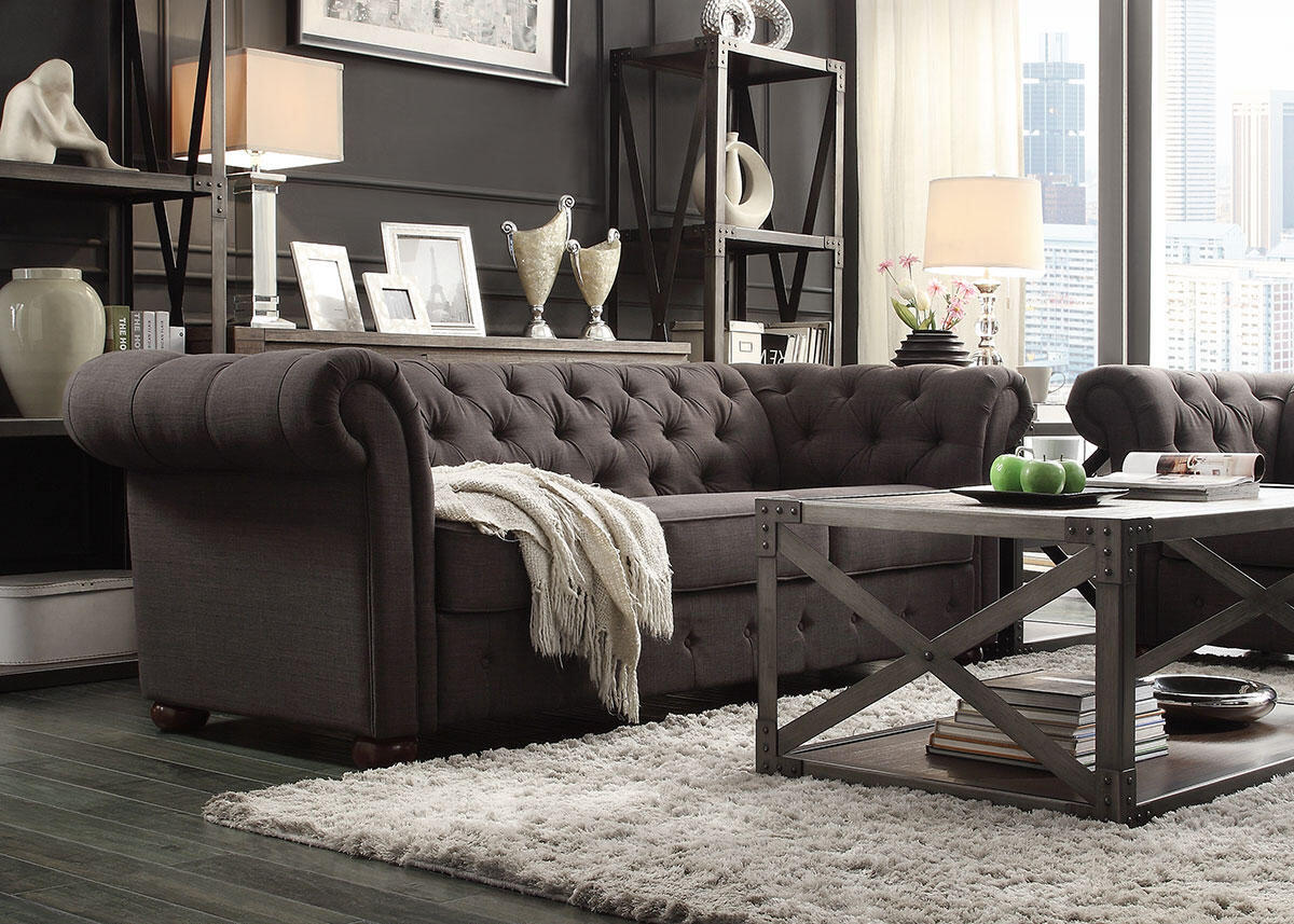 Barrington Charcoal Linen 3 Pc. Living Room