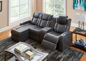 Tesla 4pc Raf Pwr Leather Sectional