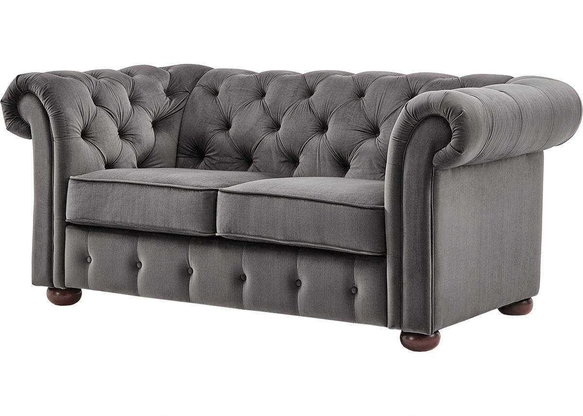 Barrington Charcoal Velvet Loveseat