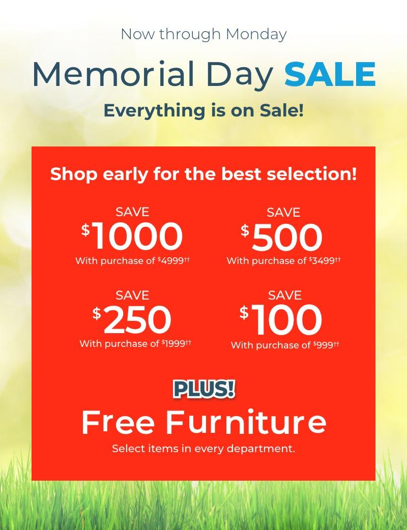 Memorial Day Sale! Free Furniture!